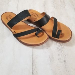 Kork Ease Pine Slip On Strappy Leather Sandals